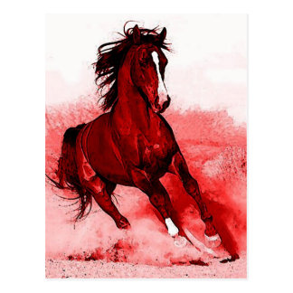 Running Horse Browny Red Artwork Postcard