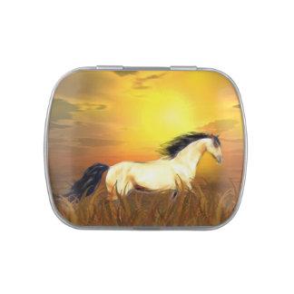Running horse candy tins
