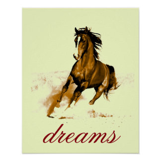 Running Horse Dreams Motivational Artwork Poster