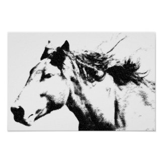 Running Horse Head Pop Art image Poster