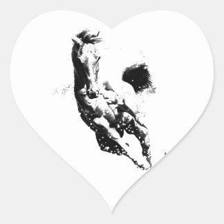 Running Horse Heart Sticker