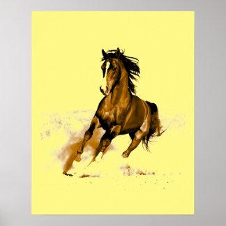 Running Horse Motivational Artwork Yellow Poster