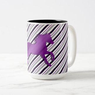Running Horse on Stripes Two-Tone Coffee Mug