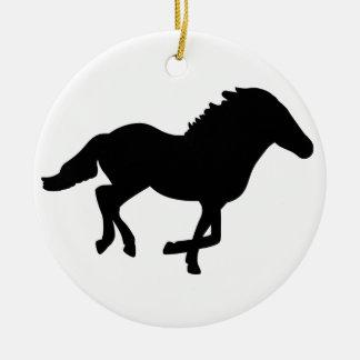 Running Horse. Round Ceramic Decoration