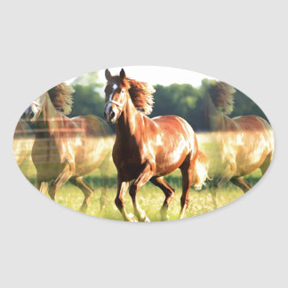 Running Horse Oval Sticker