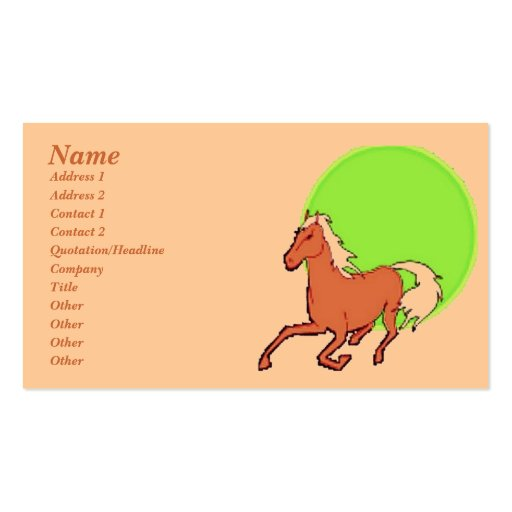 Running Horse Profile Card Business Card Templates