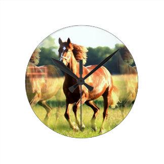 Running Horse Round Clock