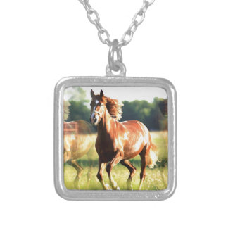 Running Horse Silver Plated Necklace