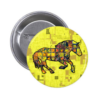RUNNING HORSE SQUARED 2 INCH ROUND BUTTON