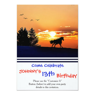 running horse  - sunset horse - horse card