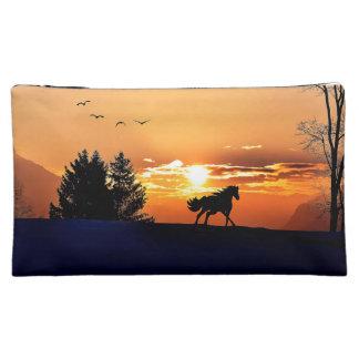running horse  - sunset horse - horse makeup bag