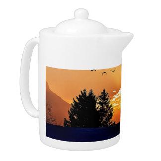 running horse  - sunset horse - horse teapot