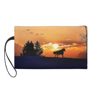 running horse  - sunset horse - horse wristlet purse