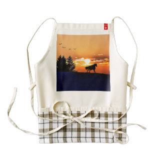 running horse  - sunset horse - horse zazzle HEART apron
