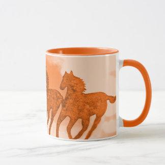 Running Horses Art in Brown Hues Mug