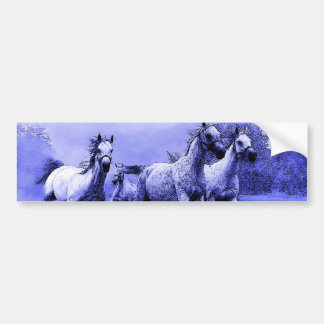 Running Horses & Blue Moonlight Bumper Sticker