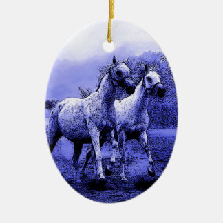 Running Horses & Blue Moonlight Ceramic Ornament