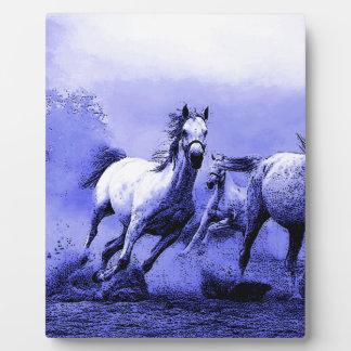 Running Horses & Blue Moonlight Plaque