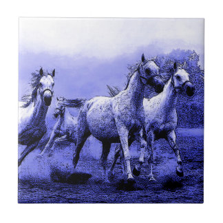 Running Horses & Blue Moonlight Tile