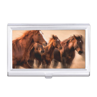 Running horses, blur and flying manes business card holder