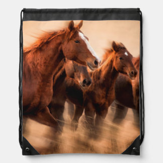 Running horses, blur and flying manes drawstring backpack