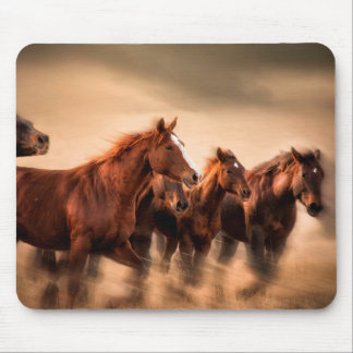 Running horses, blur and flying manes mouse pad
