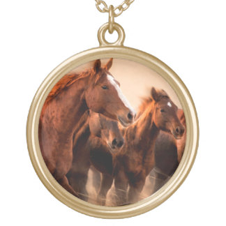 Running horses, blur and flying manes round pendant necklace