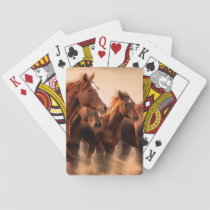 Running horses, blur and flying manes playing cards