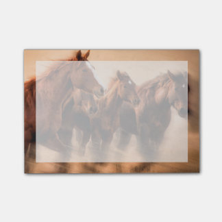 Running horses, blur and flying manes post-it® notes