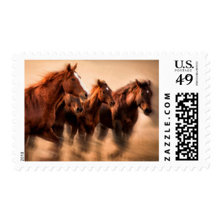 Running horses, blur and flying manes stamp