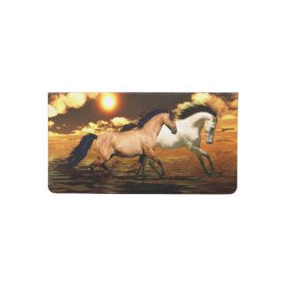 Running horses checkbook cover