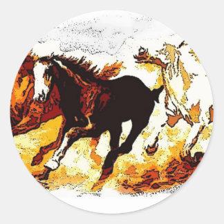 Running Horses Classic Round Sticker
