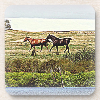 Running Horses Cork Coasters