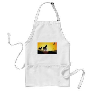 Running horses design adult apron