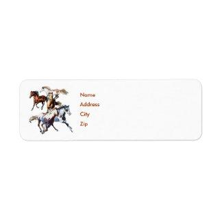 Running Horses, Name, Address, City, Zip Custom Return Address Label