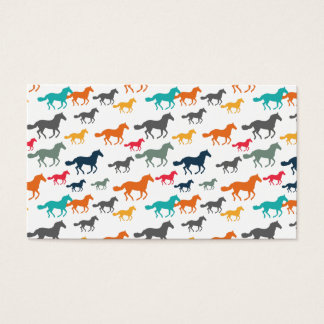 Running Horses Pattern - Turquoise Orange Gray Business Card