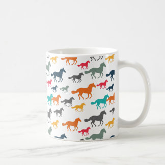 Running Horses Pattern - Turquoise Red Gray Coffee Mug
