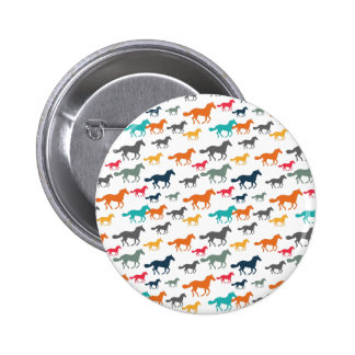 Running Horses Pattern - Turquoise Red Gray Pinback Button