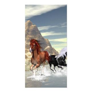 Running horses photo card