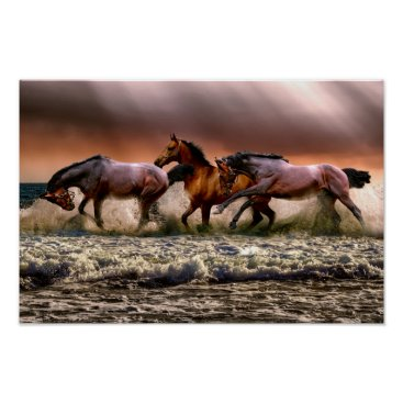 Art Themed Running horses poster