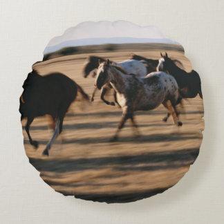 Running Horses Round Pillow