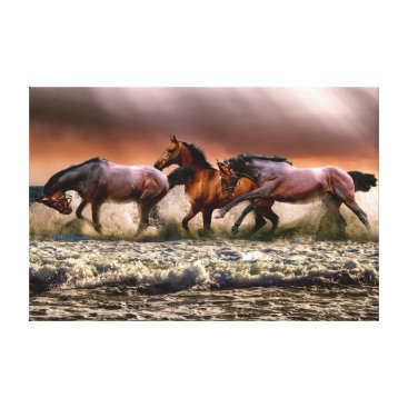 Art Themed Running horses wrapped canvas