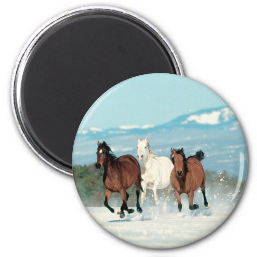 Running In The Snow 2 Inch Round Magnet