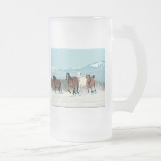Running In The Snow Frosted Glass Beer Mug