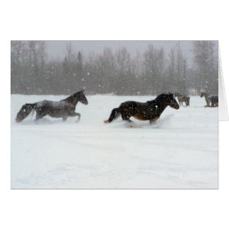 Running in the snow greeting card