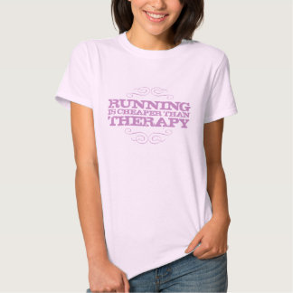 Running is cheaper than therapy in purple. tee shirt