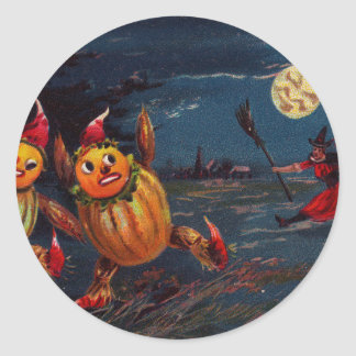 Running Jack O Lantern Men Classic Round Sticker