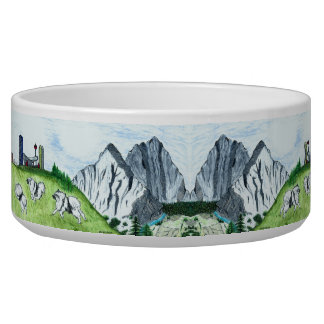 Running Keeshonden Dog Bowl