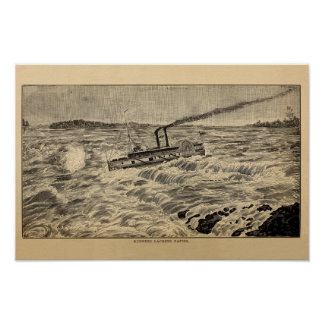 Running Lachine Rapids, Montreal Antique Engraving Póster