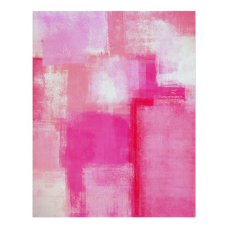 'Running Late' Pink Abstract Art Poster Print